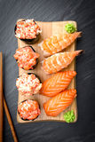 Nigiri and Gunkan Sushi Traditional Japanese Food Stock Photo