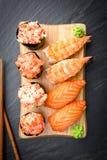 Nigiri and Gunkan Sushi Traditional Japanese Food Stock Photo