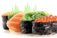 Nigiri and Gunkan Sushi. On white background Royalty Free Stock Photo