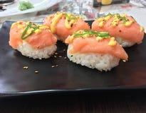 Nigiri. With salmon stock photo