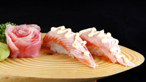 Nigiri salmon tataki Stock Photography