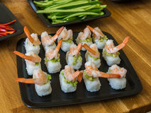 Nigiri with shrimps and avocado Royalty Free Stock Image