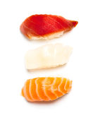 Nigiri sushi. Three nigiri sushi on the white background Royalty Free Stock Images