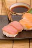 Nigiri sushi. Tuna and salmon nigiri sushi pieces royalty free stock images