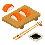 Nigiri Sushi with fish, chopsticks, soy sauce, board Royalty Free Stock Photography