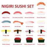Nigiri sushi icon set. Japanese cuisine. Vector. Eps10 Stock Photos