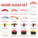 Nigiri sushi icon set. Japanese cuisine. Vector. Eps10 Stock Images