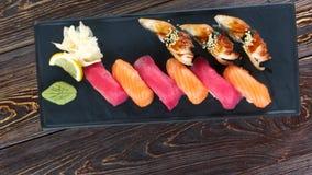 Nigiri sushi on a plate. Tasty japanese food stock footage