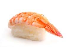 Nigiri Sushi With Prawns. Nigiri sushi with king prawns on white background stock images