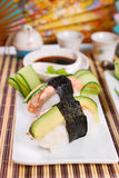Nigiri sushi with salmon and avocado Stock Images