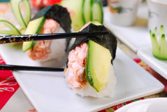 Nigiri sushi with salmon and avocado Royalty Free Stock Photography