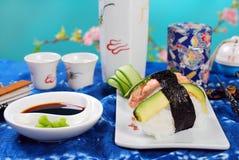 Nigiri sushi with salmon and avocado Royalty Free Stock Images