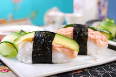 Nigiri sushi with salmon and avocado Stock Photography