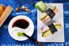 Nigiri sushi with salmon and avocado Stock Photo