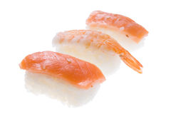 Nigiri Sushi salmon and king prawn Royalty Free Stock Photo