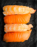 Nigiri sushi with salmon and prawns Royalty Free Stock Images
