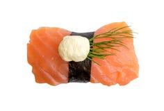 Nigiri Sushi with Salmon and Seaweed Nori on White Background Stock Photos
