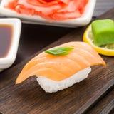 Nigiri sushi with salmon Stock Photo