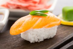 Nigiri sushi with salmon Royalty Free Stock Images