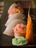 Nigiri sushi sampler plate. Golden eye red snapper and young yellowtail nigiri Stock Images