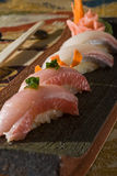 Nigiri sushi sampler plate Royalty Free Stock Photography
