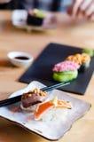 Serving sushi stock photo