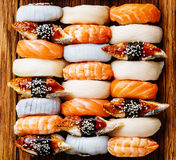 Nigiri sushi set close up Stock Photos
