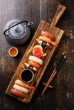 Nigiri Sushi set and green tea Stock Image