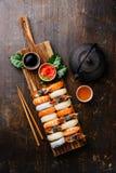 Nigiri Sushi set and green tea Royalty Free Stock Photos