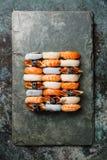Nigiri sushi set on slate board Stock Photos