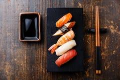 Nigiri sushi set and soy sauce Royalty Free Stock Photo