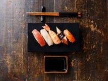 Nigiri sushi set and soy sauce Stock Photography