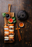 Nigiri Sushi set and tea Royalty Free Stock Photos