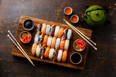Nigiri sushi set for two and green tea Stock Photography