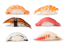 Nigiri Sushi set. On a white background stock photo