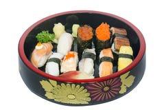 Nigiri sushi set. On the white bakcground stock image