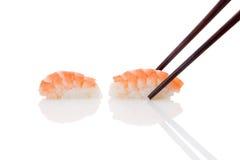 Nigiri sushi with shrimp. Royalty Free Stock Photos