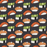 Nigiri sushi sketch. Seamless pattern with hand-drawn cartoon japanese food icon - sushi with fish and avocado. Vector Royalty Free Stock Photo