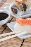 Nigiri Sushi with sticks and Soy Sauce Stock Images