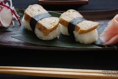 Nigiri Sushi With a Tamago Topping. stock photography
