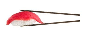 Nigiri sushi with tuna. Isolated over white background Royalty Free Stock Photo