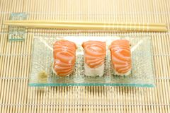 Nigirizushi with chopsticks Royalty Free Stock Photos