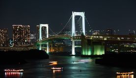 Tokyo, Japan 08.29.2017: nignt city view at the Rainbow Bridge on Odaiba island. Nignt city view at the Rainbow Bridge on Odaiba island Royalty Free Stock Photography