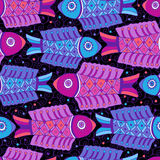 Nigt Fishes seamless pattern Royalty Free Stock Image
