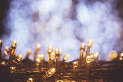 The nigt light bokeh festival with small LED light decor on part