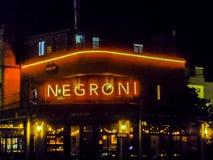 Nigth场面典雅的餐馆门面,蒙得维的亚,乌拉圭 库存照片