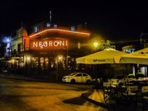 Nigth场面典雅的餐馆门面,蒙得维的亚,乌拉圭 免版税库存照片