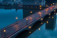 Nigth City Road in Gunma, Japan Stock Afbeeldingen