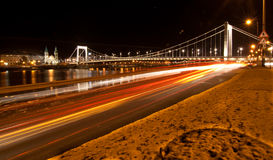 Nigth city scene with road and bridge Stock Photography