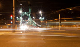 Nigth city scene with road and bridge Stock Images